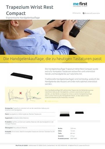 Bakker Elkhuizen Trapezium Ergo Tastatur-Handgelenkauflage Compact