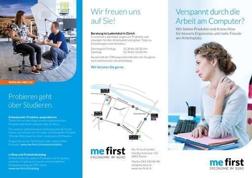 MeFirst Prospekt «Verspannt durch die Arbeit am Computer?»