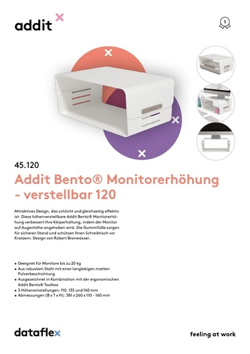 Dataflex Addit Bento Monitorerhöhung 120