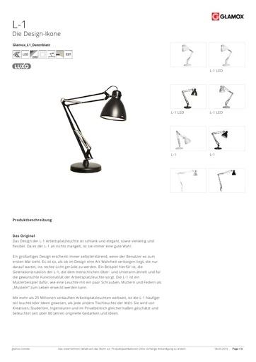 Glamox-Luxo Arbeitsplatzlampe L-1 LED